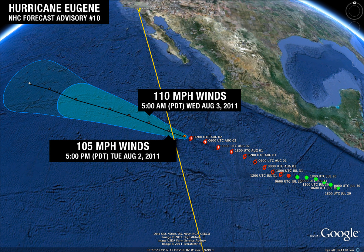 Hurricane Eugene Advisory #10 (August 2, 2011)