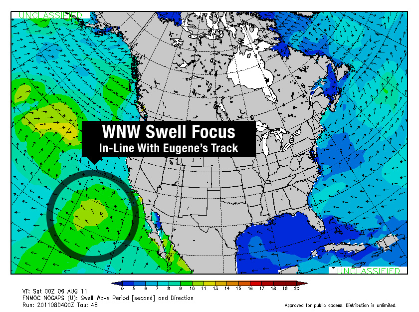 Wavewatch Swell Period Forecast (Saturday, August 6, 2011 00 UTC)