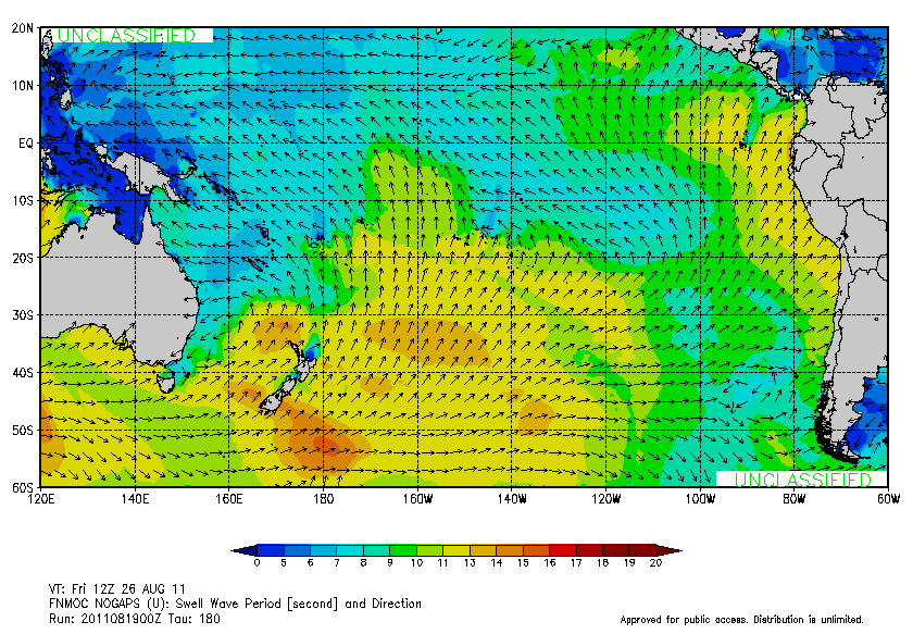 Swell Wave Period & Direction - Fri, Aug 26, 2011 (12z)